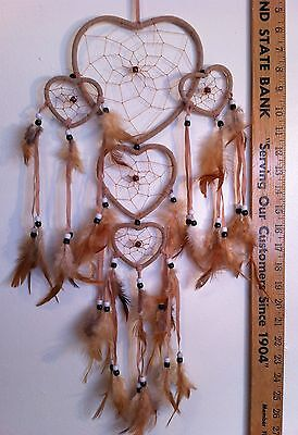 "Cherokee Handmade 26"" Dream Catcher, Taupe Hearts, Tan Feathers, Blk & Wht Beads"