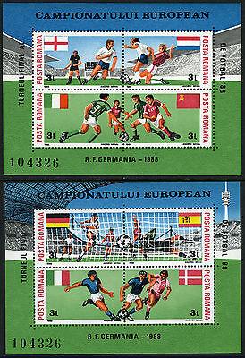 Romania 3523A-3523B, MI Bl.241-242, MNH. European Soccer Cup Championships, 1988