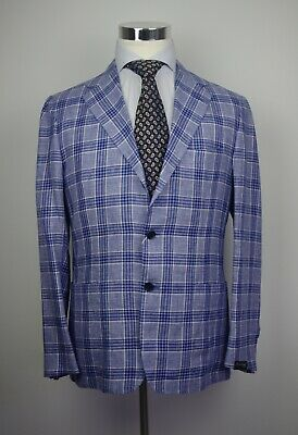 NWT SARTORIO BY KITON BLUE PLAID LINEN WOOL SILK BLEND BLAZER ISAIA US42 40