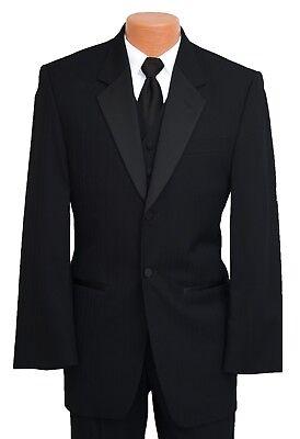 40R Black Parisian Tuxedo Formal Jacket & Pant Set Prom 2 Piece Wedding Suit