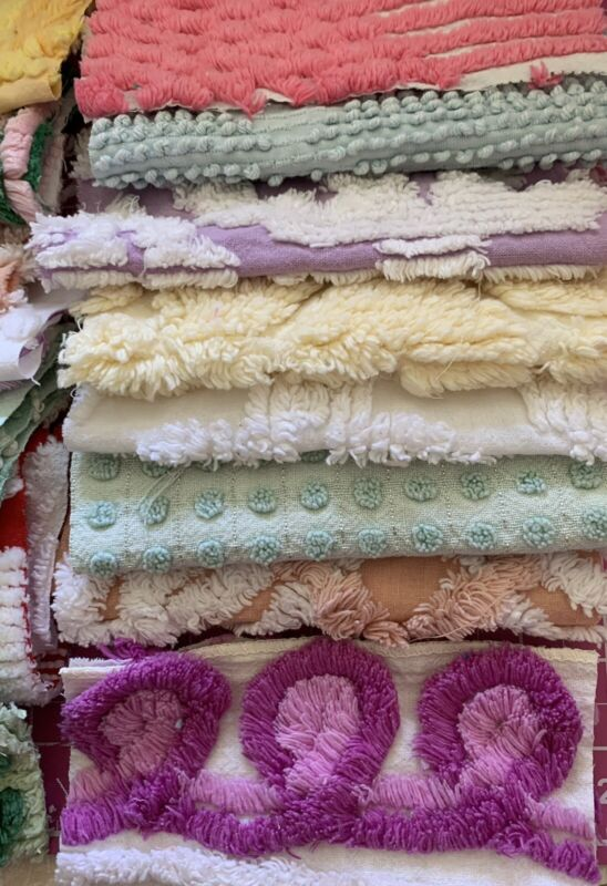 "45- 6"" x 6"" vintage chenille bedspread sqs."