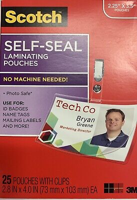 Scotch Self Seal Laminating Pouches. 2.25 X 3.5 25 Pouches With Clips