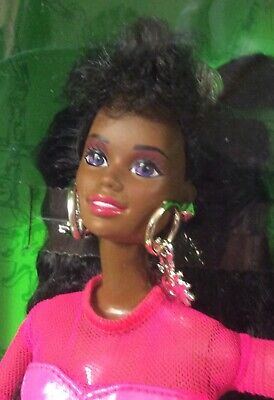 NRFB 1992 Barbie Doll EARRING MAGIC Pink Box AFRICAN AMERICAN #2374 Pink Dress