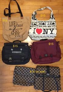 Briefcases, Purses and carry bags