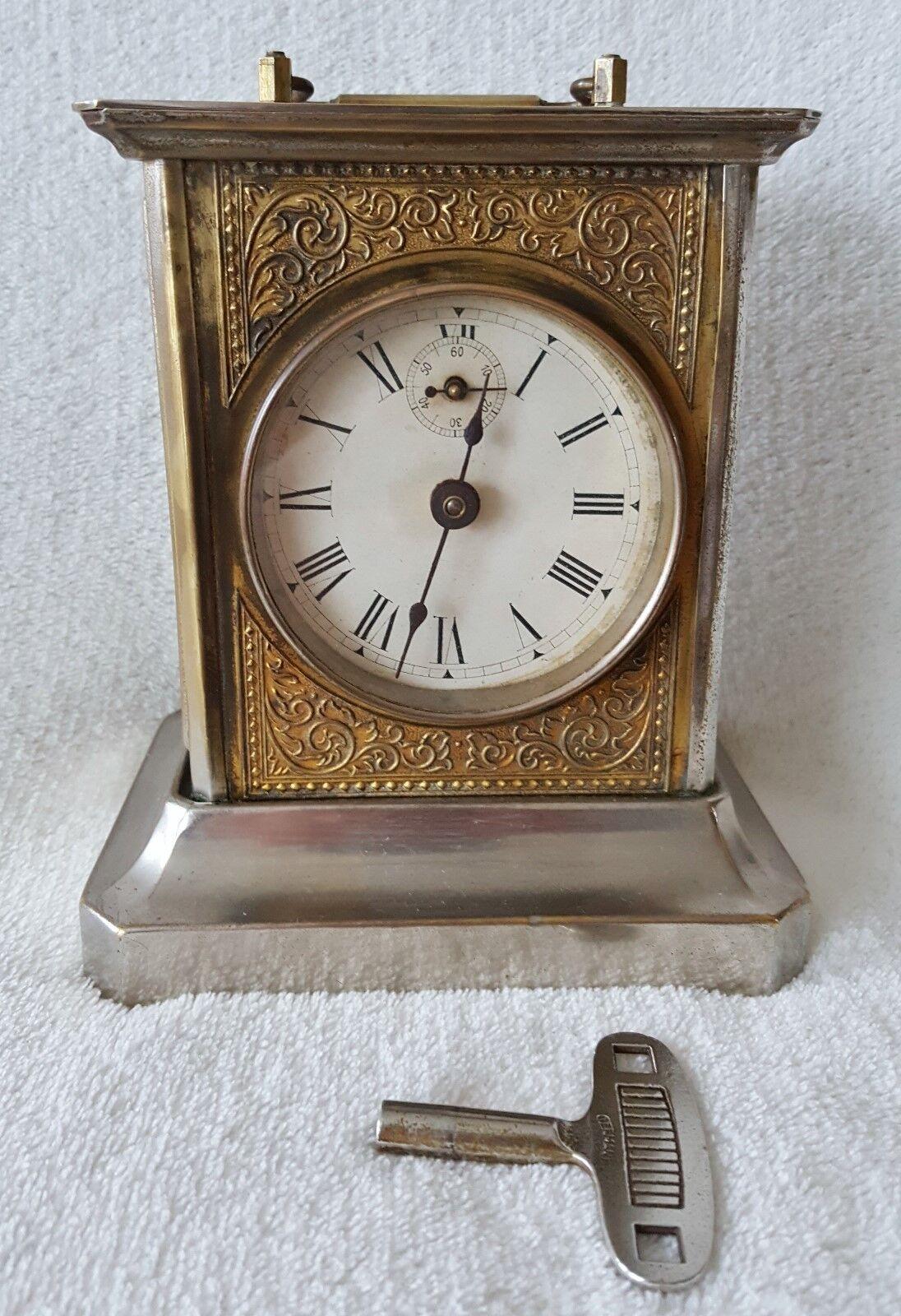 Rare Clock Pfeilkreuz German Musical Alarm Carriage Mantel Alarm Clock 1920s