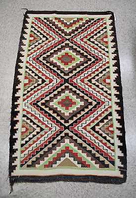 """Colorful Antique c1920s Navajo Rug: Teec / Red Mesa Outline 32"""" x 56 1/2"""""""