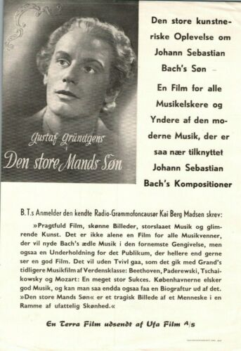 Friedemann Bach Gustaf Gründgens Vintage 1941 1 Page Danish Movie Press Release