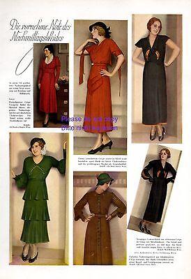 Mode 30er Jahre XL Seite 1931 mit 6 Fotoabbildungen Kleid Dame Nachmittag -
