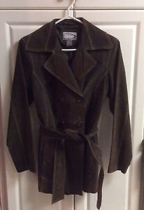 Dark brown suede spring/fall women's jacket