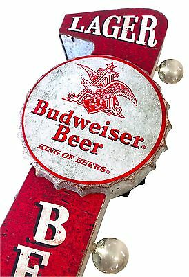 Budweiser Beer Large Red Metal Sign With LED Lights, Wall Decor Man Cave Bar