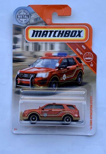 Matchbox Ford Explorer Police Interceptor Utility Ecoboost Fire SHO V6 CHP Oem