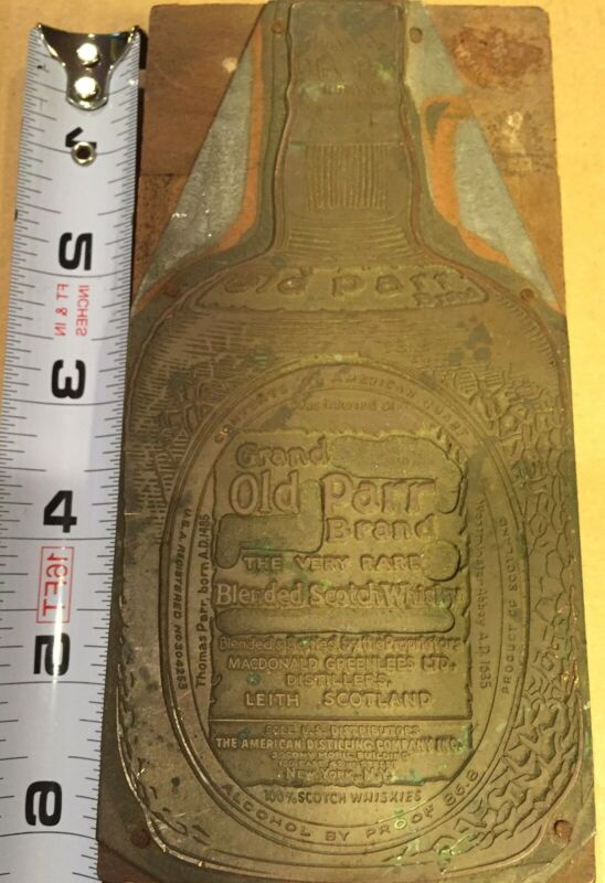 Large Wood Printing Letterpress Printers Block Old Parr Whiskey Advertising
