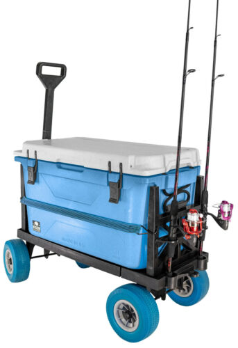 Fishing Cart, Mighty Max Fishing Cart for Cooler Caddy & Fishing Poles (Blue)