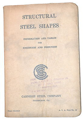 STRUCTURAL STEEL SHAPES: INFO & TABLES 4 ENGINEERS  1926 1st edition Book