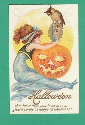 VINTAGE STECHER HALLOWEEN POSTCARD LADY RED HAIR SEES FUTURE HUSBAND MIRROR OWL