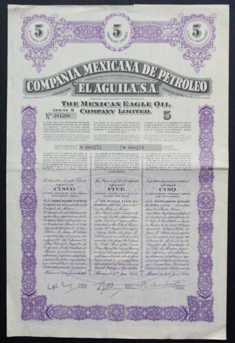 "Mexico - Oil Comapny ""El Aguila"" - The Mexican Eagle Oil - 1949 - 5 shares"