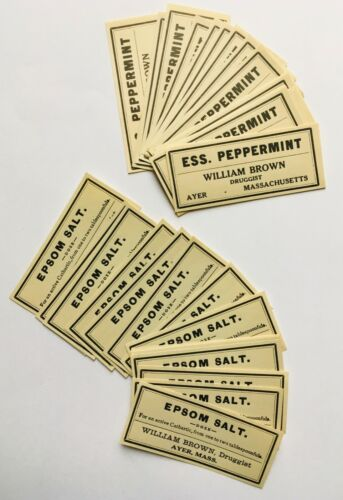 Antique Medical Medicine Druggist Apothecary Paper Labels William Brown Ayer MA