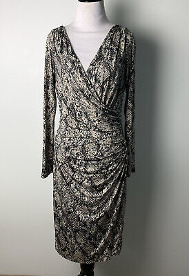 LAUREN BY RALPH LAUREN Dress Sheath V-Neck Snakeskin Print Womens 6