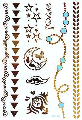 Gold Flash Tattoos with Turquoise 3D One Time Anklets Trendy Jewelry wfd-020