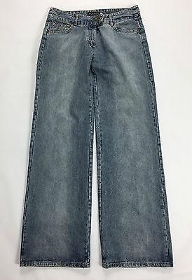 Please jeans M W30 tg 42 44 a zampa bootcut donna usato blu pantalone campana