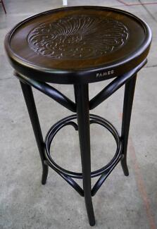 New Real Bentwood Fameg Round Classic Timber Embossed Bar Stools Richmond Yarra Area Preview