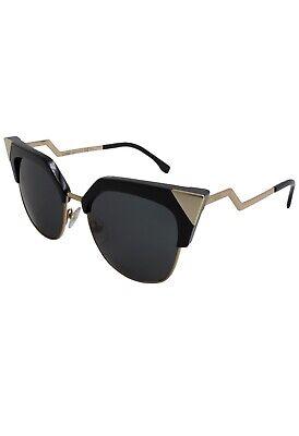Fendi Black New 0149/S Gold Metal Iridia Cat Eye Zig Zag Sunglasses 54