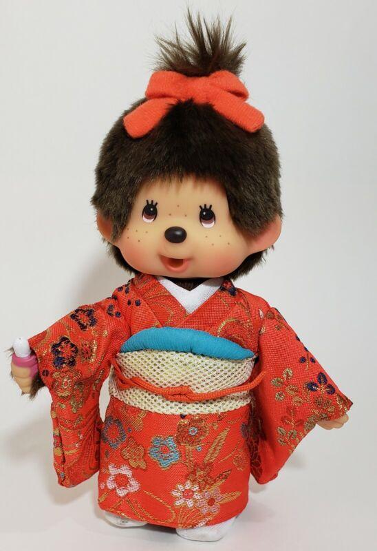 "Vintage 8"" Monchichi Monkey Doll Girl Red Kimono Sekiguchi EUC"