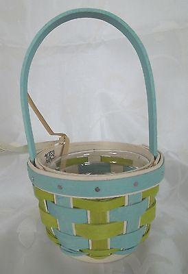 LONGABERGER~2016 Easter Turquoise & Celadon Baubles Basket & Protector~NWT! ()