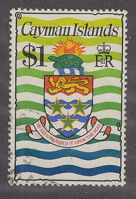 Cayman Islands Sc 344a used 1977 $1 Coat of Arms VF