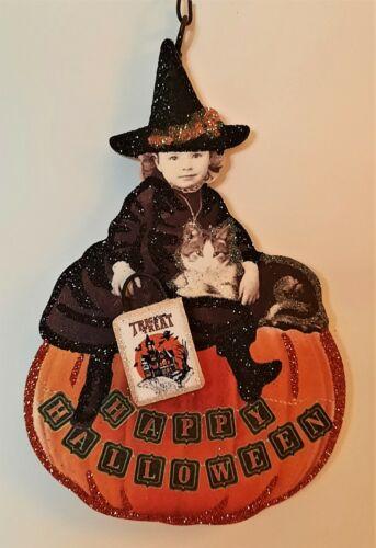 VICTORIAN CHILD WITCH on PUMPKIN w CAT, TRICK TREAT * Glitter HALLOWEEN ORNAMENT