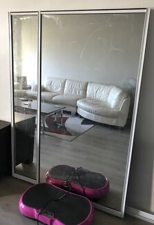 Wardrobe mirrors - two for $100 inc track