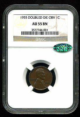 1955 1C LINCOLN CENT DOUBLED DIE OBVERSE AU55 BROWN NGC CAC