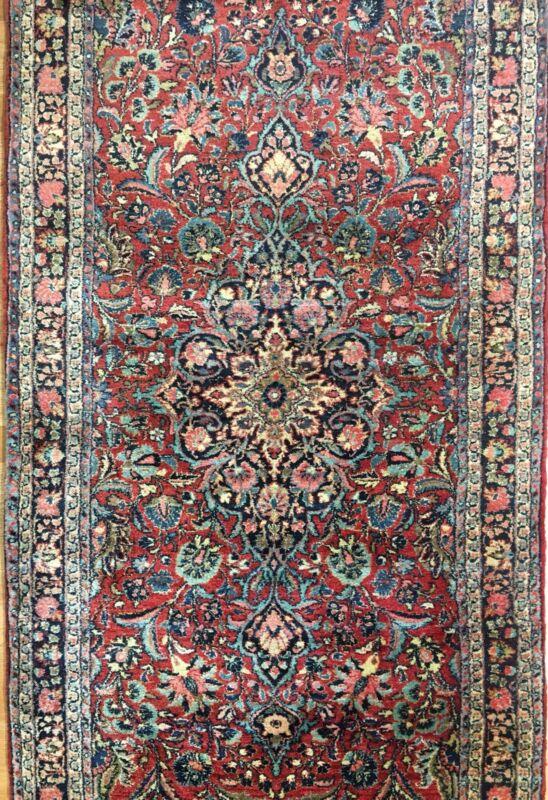 Fantastic Floral - 1930s Antique Oriental Rug - Handmade Carpet - 3.1 X 18 Ft.