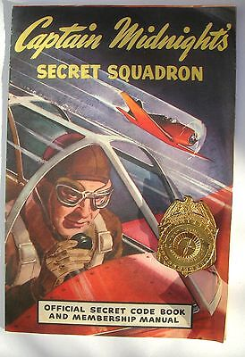 1940 CAPTAIN MIDNIGHT SECRET DECODER BADGE AND MANUAL