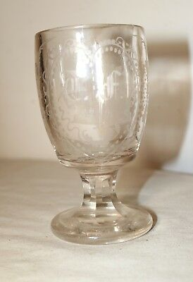 RARE antique 18th century 1714 hand etched crystal goblet chalice wine glass