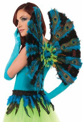Sexy Peacock Feather Wings Marabou Aqua Blue Bird Cosplay  Costume Accessory