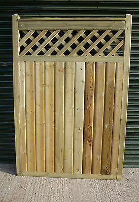 BESPOKE SIZE Barrel Board Gate with Trellis detail up to 3ft wide x 6ft high