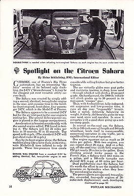 1962 CITROEN 2-CV SAHARA  ~  NICE ORIGINAL 2-PAGE ARTICLE / AD
