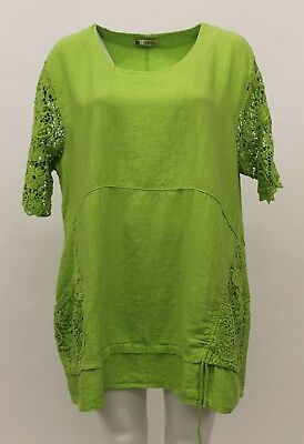 Used, LA BASS WOMEN'S SPRING SUMMER LINEN CROCHET LACE PULLOVER TOP LIME PLUS SIZE 2 for sale  Los Angeles