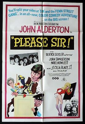 PLEASE SIR 1971 John Alderton BRITISH COMEDY One sheet Movie poster