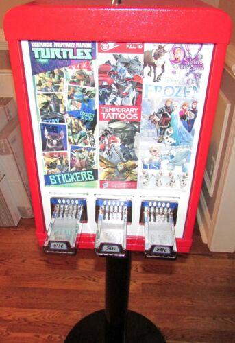 3 Column Sticker / Tattoo Vending Machine with Lock, Key & Inventory