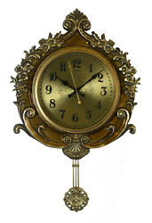 Round Antique Style Gold Wall Clock, Floral Carvings & Ornate Pendulum