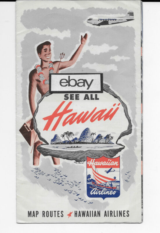HAWAIIAN AIRLINES 1951 DOUGLAS DC-3 ROUTE MAP OF ISLANDS & ISLAND INFO