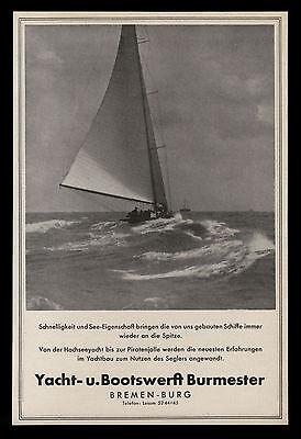 Grosse Werbung 1950 Hochseeyacht bis Piratenjolle  Werft Burmester Bremen-Burg