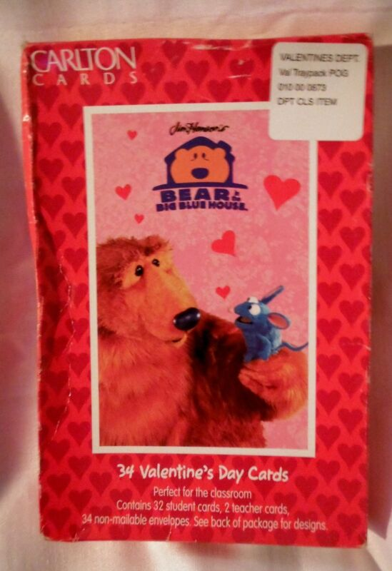 Bear In The Big Blue House Valentines Day 32 student cards 1990