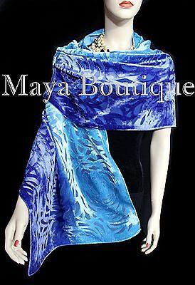Maya Matazaro Hand Dyed Turquoise Blue Camellia Shawl Wrap Scarf Burnout Velvet