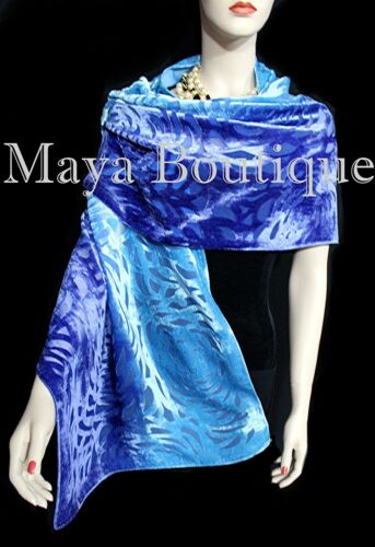 Maya+Matazaro+Hand+Dyed+Turquoise+Blue+Camellia+Shawl+Wrap+Scarf+Burnout+Velvet+