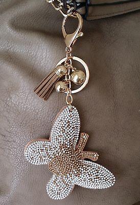 SCHMETTERLING Taschenanhänger Schlüsselanhänger Kristalle Strass Rose-Gold Braun
