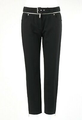 CELINE Black Zipper Detail Belt Buckle Cropped Ankle Length Tapered Jeans 40