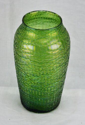 Bohemian Kralik Iridescent green art glass vase early 1900